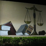 Law book and gavel wall image