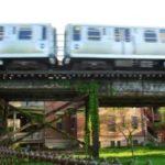 CTA train in motion
