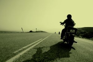 Motorcyclist on the highway