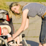 Mom with baby in a stroller