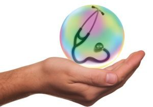 Man holding stethoscope bubble