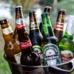 Different beers in a bucket
