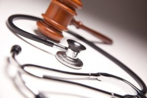 Gavel and stethoscope, medical malpractice lawyers