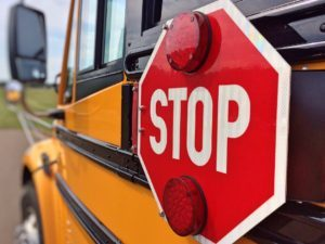 School bus with stop sign