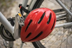 Red helmet on a bicycle