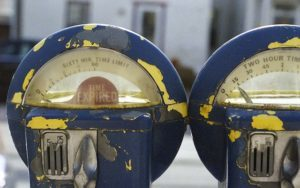 Two parking meters