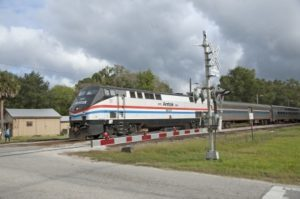 Amtrak train on railroad tracks