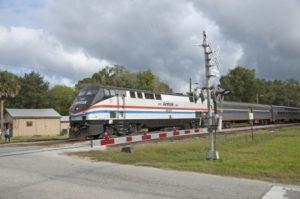 Amtrak train on tracks