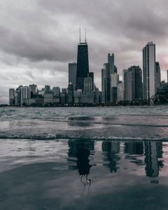 Downtown Chicago on cloudy day