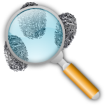 Magnifying glass and fingerprints