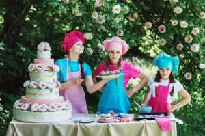 Young girls baking