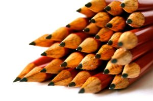 Closeup of sharpened pencils