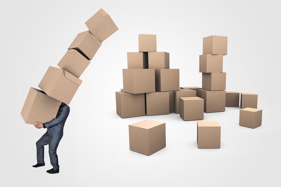 Animated man holding boxes