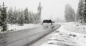 car on snowing road, Chicago injury attorney