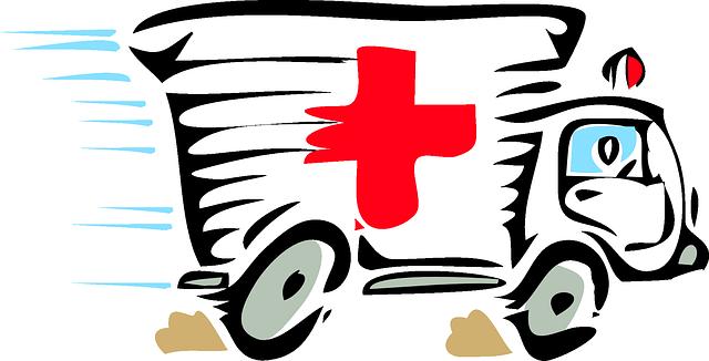 a fast-driving ambulance car