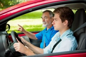 Student driver and an instructor