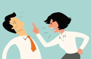 Cartoon of a woman yells at a man